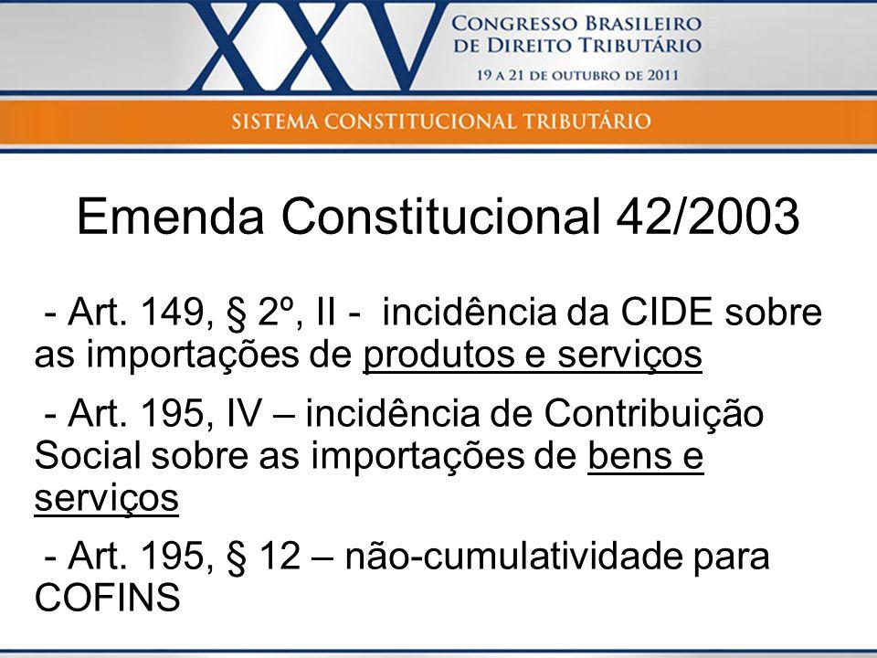 Emenda Constitucional 42/2003 - Art. 149, § 2º, II - incidência da CIDE sobre as importações de produtos e serviços - Art. 195, IV – incidência de Con
