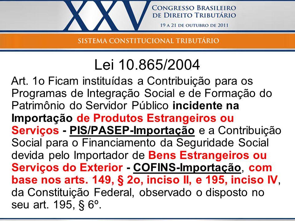 Lei 10.865/2004 Art. 1o Ficam instituídas a Contribuição para os Programas de Integração Social e de Formação do Patrimônio do Servidor Público incide