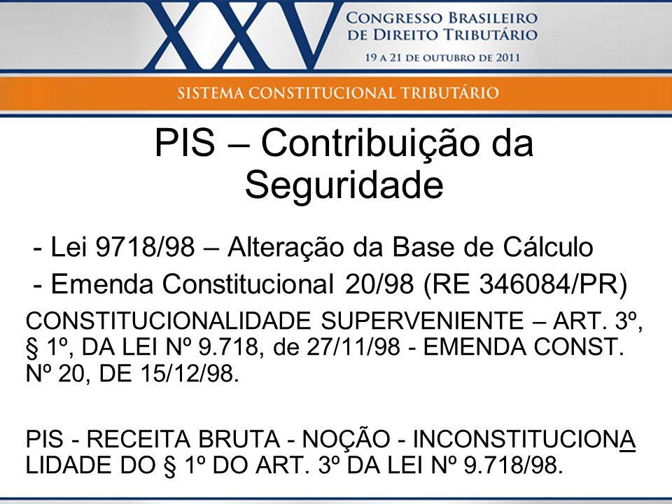 PIS – Contribuição da Seguridade - Lei 9718/98 – Alteração da Base de Cálculo - Emenda Constitucional 20/98 (RE 346084/PR) CONSTITUCIONALIDADE SUPERVE