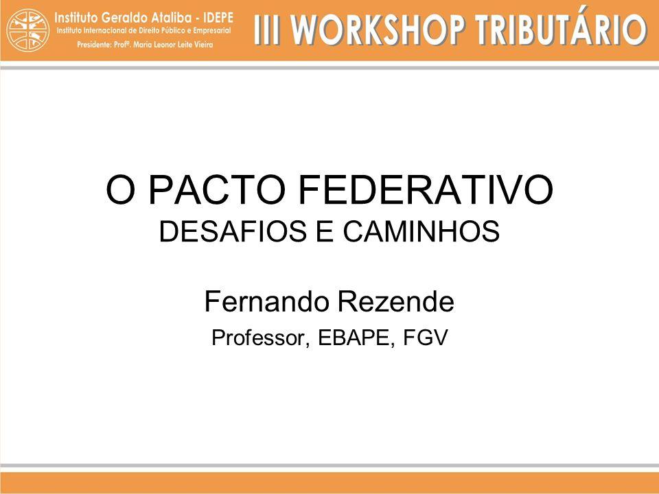 DESAFIOS DO FEDERALISMO BRASILEIRO 1 - COMPETITIVIDADE: TRIBUTAÇÃO E EFICIÊNCIA MICROECONÔMICA 2 - COESÃO: INTEGRAÇÃO INTERNACIONAL E DESINTEGRAÇÃO NACIONAL.