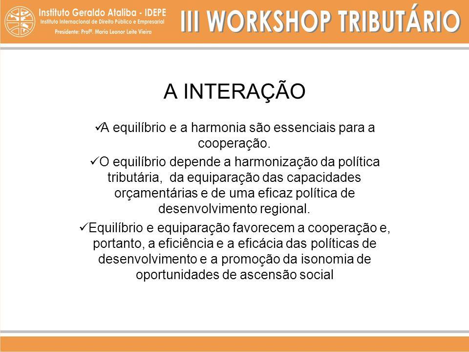 A INTERAÇÃO A equilíbrio e a harmonia são essenciais para a cooperação. O equilíbrio depende a harmonização da política tributária, da equiparação das