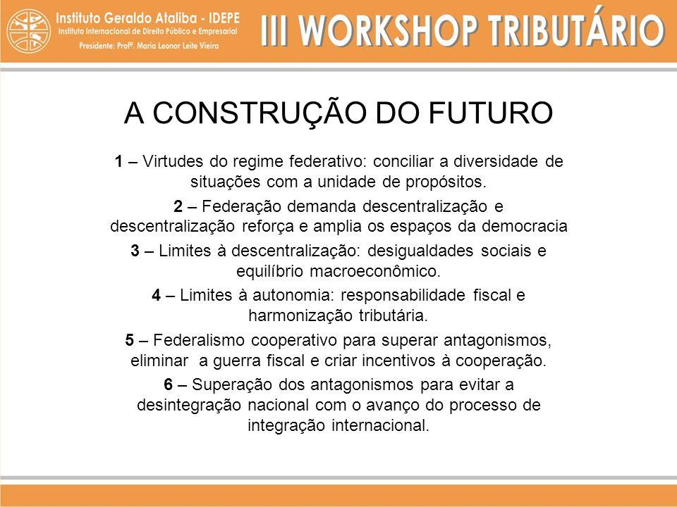 A CONSTRUÇÃO DO FUTURO 1 – Virtudes do regime federativo: conciliar a diversidade de situações com a unidade de propósitos. 2 – Federação demanda desc