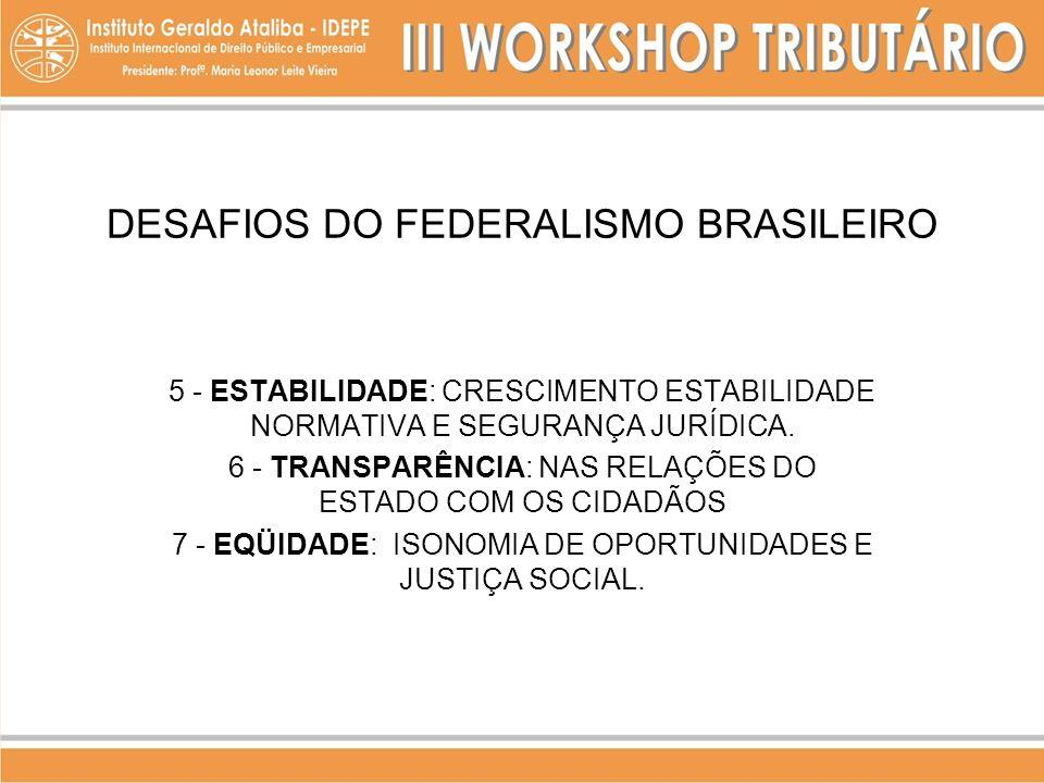 DESAFIOS DO FEDERALISMO BRASILEIRO 5 - ESTABILIDADE: CRESCIMENTO ESTABILIDADE NORMATIVA E SEGURANÇA JURÍDICA. 6 - TRANSPARÊNCIA: NAS RELAÇÕES DO ESTAD