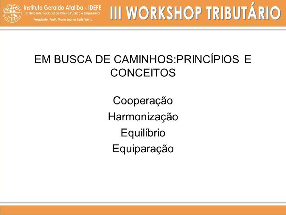EM BUSCA DE CAMINHOS:PRINCÍPIOS E CONCEITOS Cooperação Harmonização Equilíbrio Equiparação