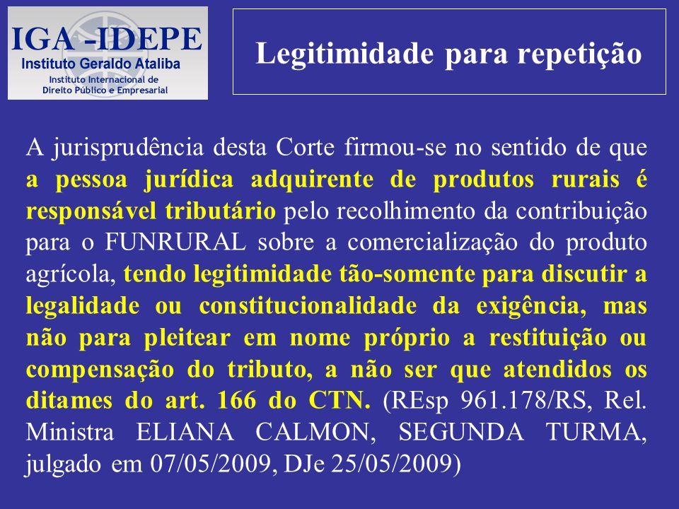 Legitimidade para repetição A jurisprudência desta Corte firmou-se no sentido de que a pessoa jurídica adquirente de produtos rurais é responsável tri