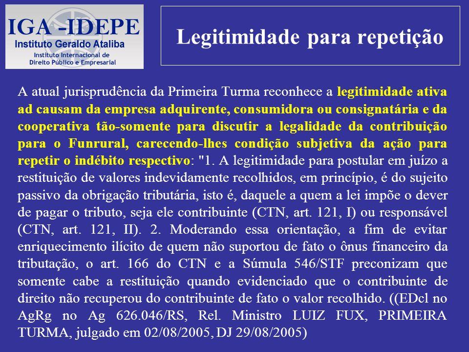 Legitimidade para repetição A atual jurisprudência da Primeira Turma reconhece a legitimidade ativa ad causam da empresa adquirente, consumidora ou co