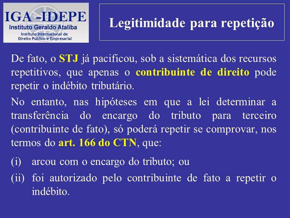 Legitimidade para repetição De fato, o STJ já pacificou, sob a sistemática dos recursos repetitivos, que apenas o contribuinte de direito pode repetir
