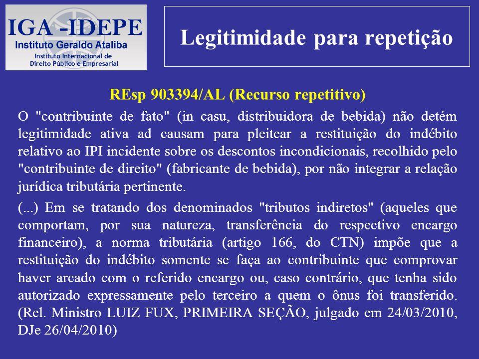 Legitimidade para repetição REsp 903394/AL (Recurso repetitivo) O