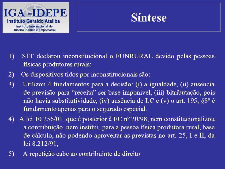 Síntese 1) STF declarou inconstitucional o FUNRURAL devido pelas pessoas físicas produtores rurais; 2) Os dispositivos tidos por inconstitucionais são
