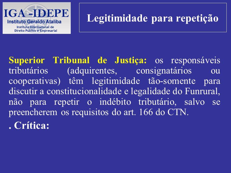 Legitimidade para repetição Superior Tribunal de Justiça: os responsáveis tributários (adquirentes, consignatários ou cooperativas) têm legitimidade t