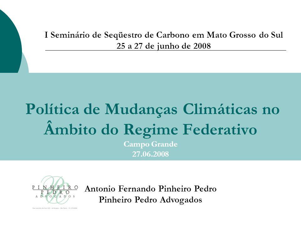 Política de Mudanças Climáticas no Âmbito do Regime Federativo Campo Grande 27.06.2008 Antonio Fernando Pinheiro Pedro Pinheiro Pedro Advogados I Seminário de Seqüestro de Carbono em Mato Grosso do Sul 25 a 27 de junho de 2008