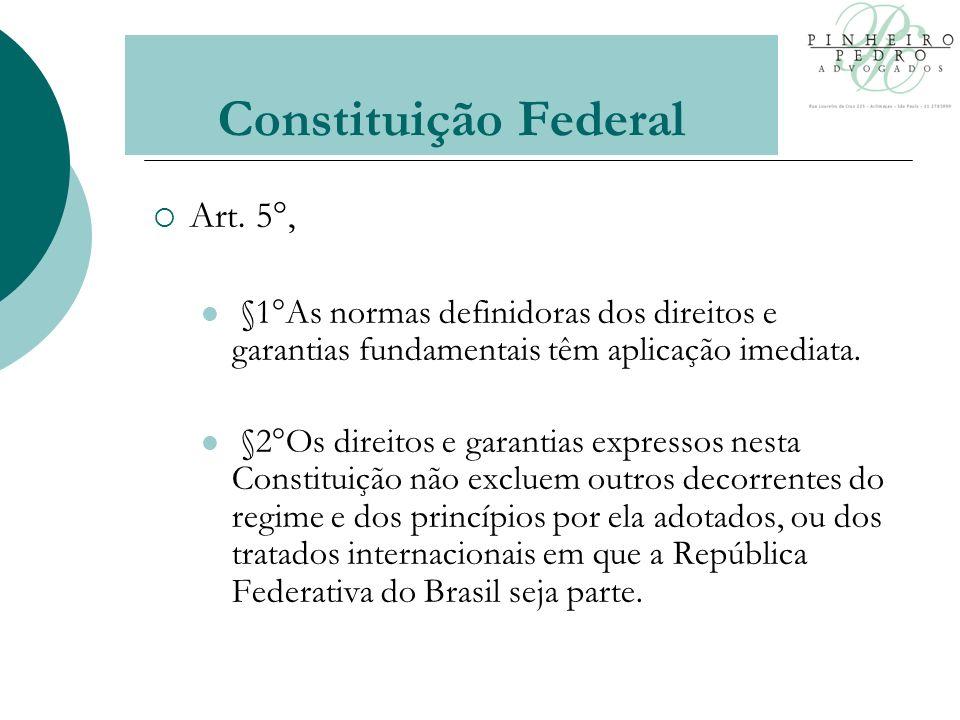 Art. 5°, §1°As normas definidoras dos direitos e garantias fundamentais têm aplicação imediata.