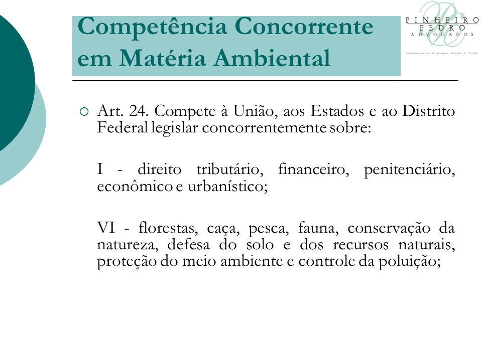 Competência Concorrente em Matéria Ambiental Art. 24.