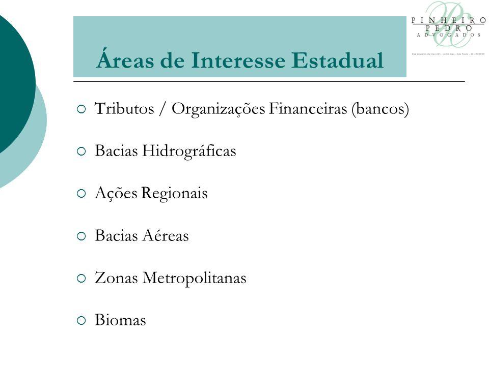 Áreas de Interesse Estadual Tributos / Organizações Financeiras (bancos) Bacias Hidrográficas Ações Regionais Bacias Aéreas Zonas Metropolitanas Biomas