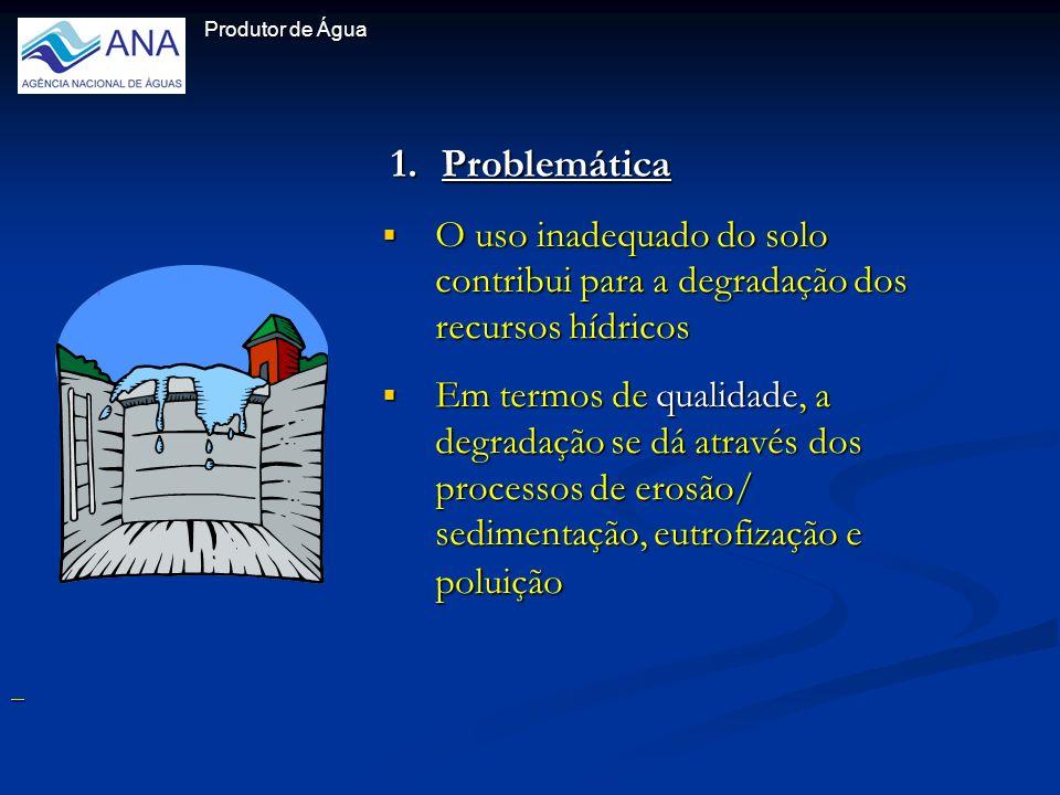 1.Problemática O uso inadequado do solo contribui para a degradação dos recursos hídricos Em termos de qualidade, a degradação se dá através dos processos de erosão/ sedimentação, eutrofização e poluição Produtor de Água