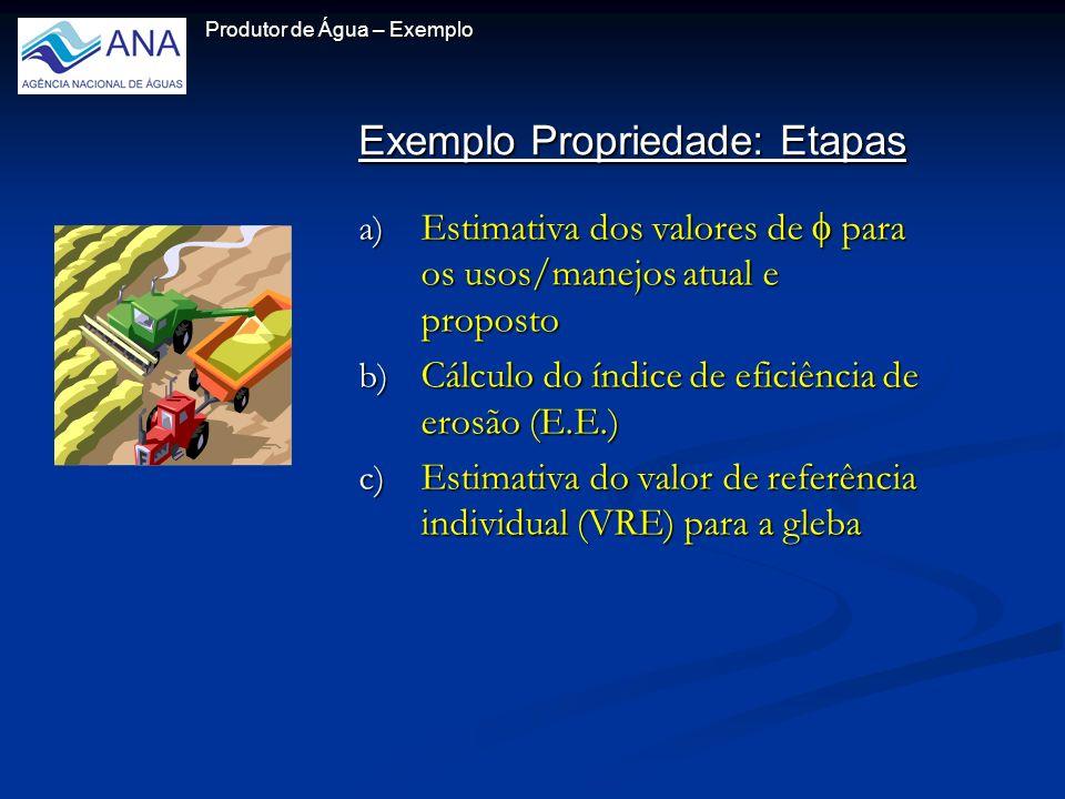Exemplo Propriedade: Etapas Exemplo Propriedade: Etapas Produtor de Água – Exemplo a) Estimativa dos valores de para os usos/manejos atual e proposto b) Cálculo do índice de eficiência de erosão (E.E.) c) Estimativa do valor de referência individual (VRE) para a gleba