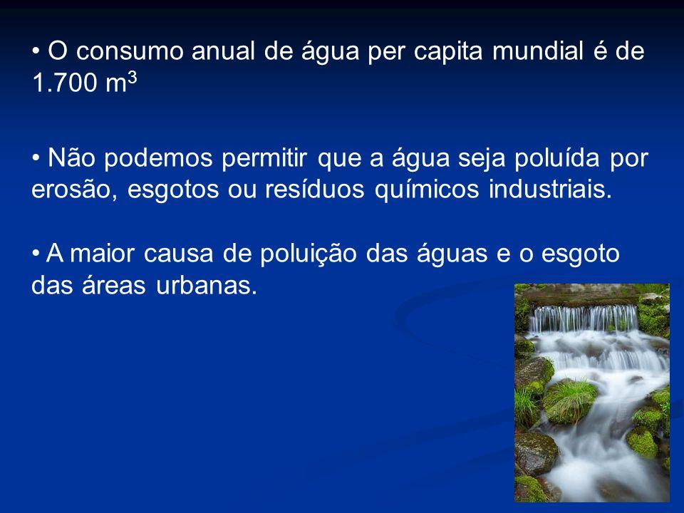 Disponibilidade de Água Disponibilidade Consumo Anual % Disponibilidade Consumo Anual % Localidade/Região m 3 / hab.ano m 3 /pessoa utilizada Localidade/Região m 3 / hab.ano m 3 /pessoa utilizada EUA9.000 1.693 18,80 Europa 4.066 726 17,80 América do Sul 34.960 376 1,07 Mato Grosso do Sul 36.684 553 1,50 Necessidade de água 1.700 m 3 por pessoa ano.