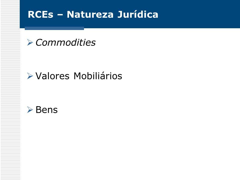 RCEs – Natureza Jurídica Commodities Valores Mobiliários Bens