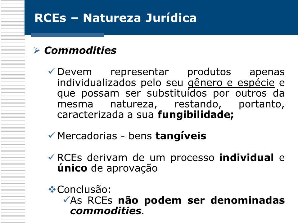 RCEs – Natureza Jurídica Commodities Devem representar produtos apenas individualizados pelo seu gênero e espécie e que possam ser substituídos por ou