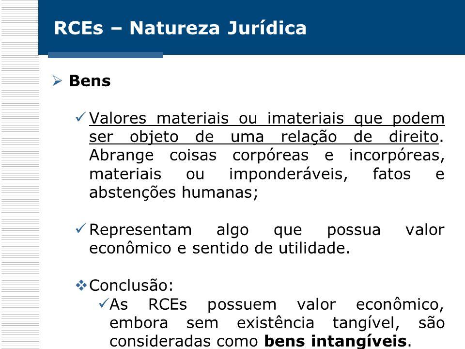 RCEs – Natureza Jurídica Bens Valores materiais ou imateriais que podem ser objeto de uma relação de direito. Abrange coisas corpóreas e incorpóreas,