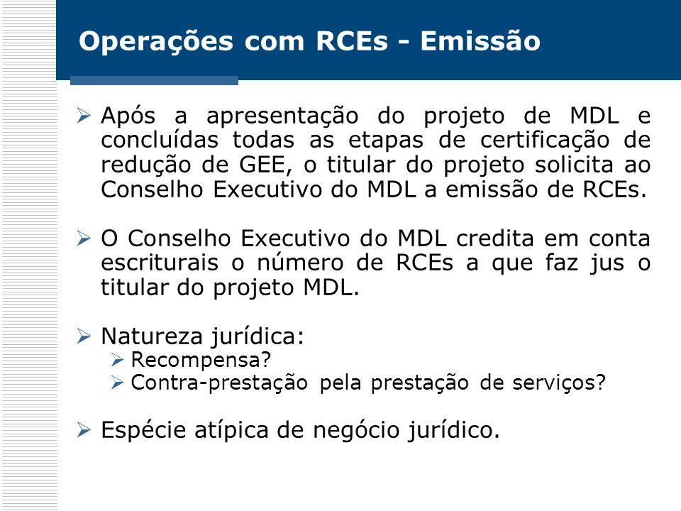 Operações com RCEs - Emissão Após a apresentação do projeto de MDL e concluídas todas as etapas de certificação de redução de GEE, o titular do projet