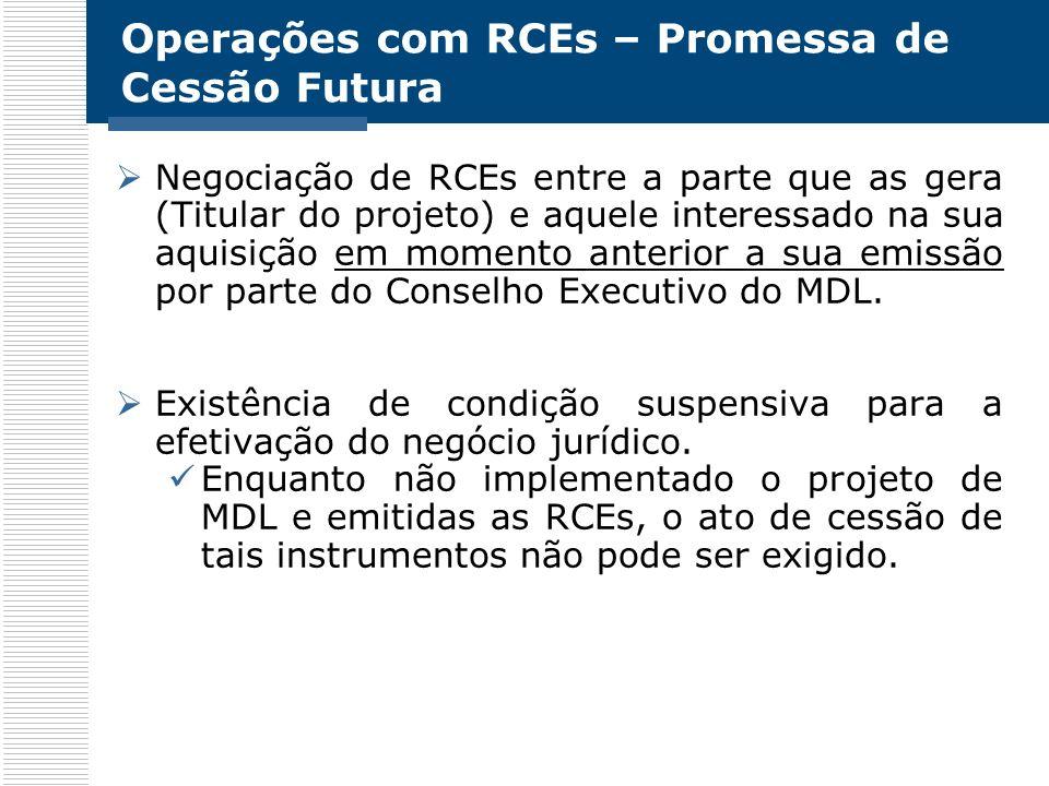 Operações com RCEs – Promessa de Cessão Futura Negociação de RCEs entre a parte que as gera (Titular do projeto) e aquele interessado na sua aquisição