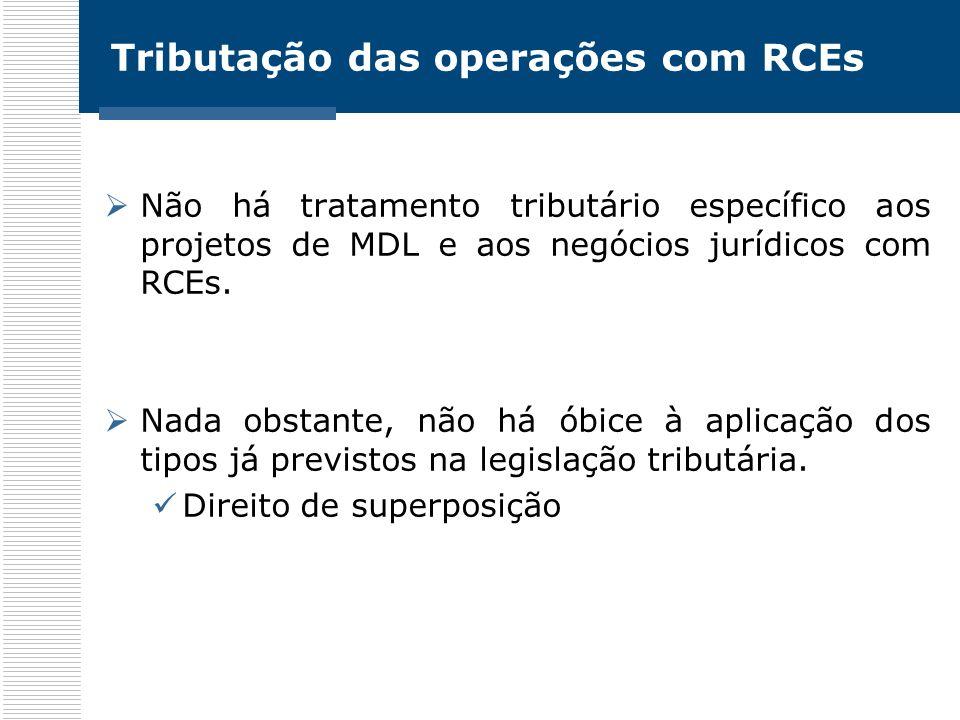 Tributação das operações com RCEs Não há tratamento tributário específico aos projetos de MDL e aos negócios jurídicos com RCEs. Nada obstante, não há