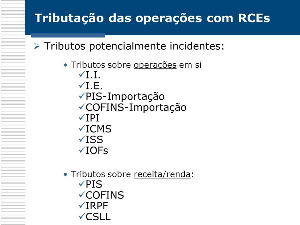 Tributação das operações com RCEs Tributos potencialmente incidentes: Tributos sobre operações em si I.I. I.E. PIS-Importação COFINS-Importação IPI IC