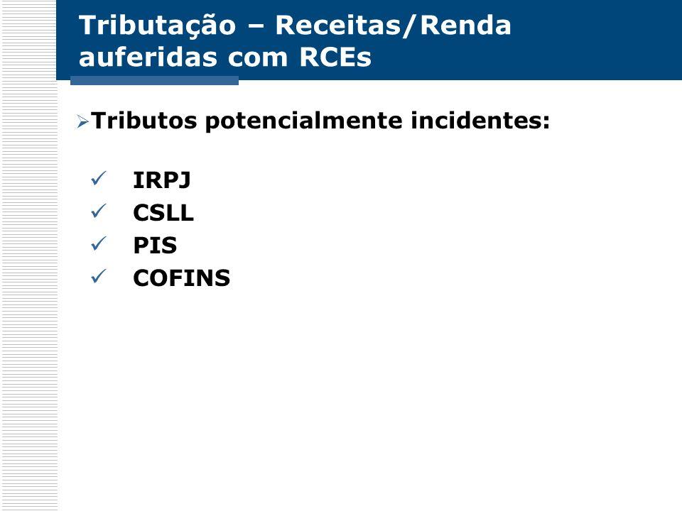 Tributação – Receitas/Renda auferidas com RCEs Tributos potencialmente incidentes: IRPJ CSLL PIS COFINS