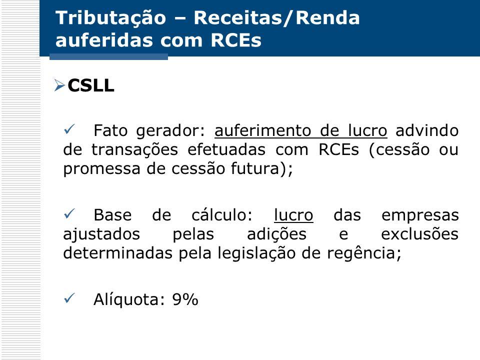 Tributação – Receitas/Renda auferidas com RCEs CSLL Fato gerador: auferimento de lucro advindo de transações efetuadas com RCEs (cessão ou promessa de