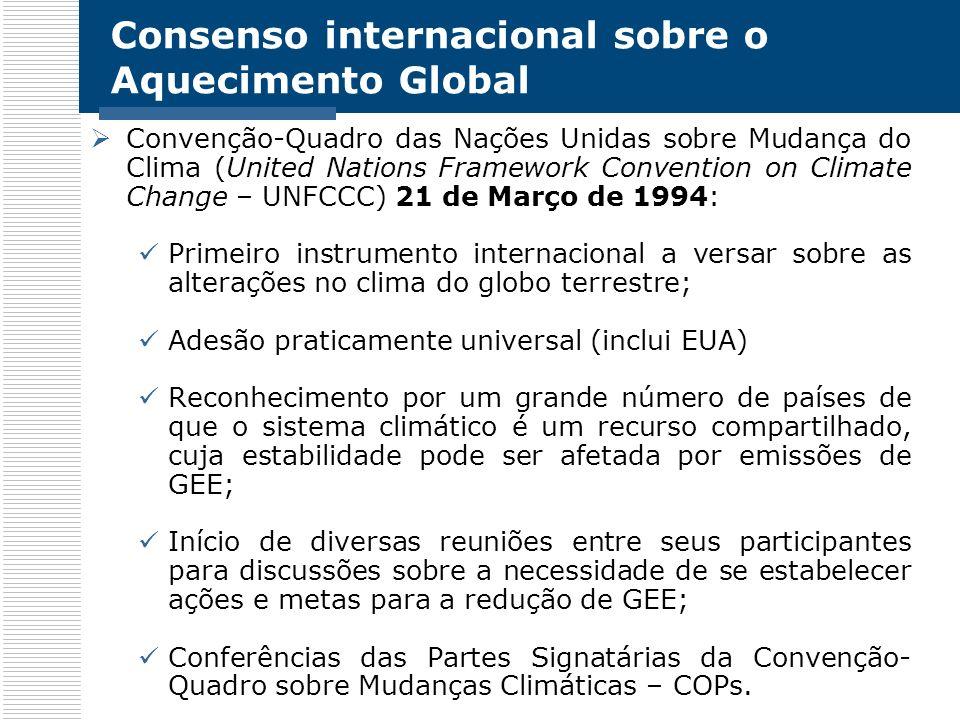 Consenso internacional sobre o Aquecimento Global Convenção-Quadro das Nações Unidas sobre Mudança do Clima (United Nations Framework Convention on Cl