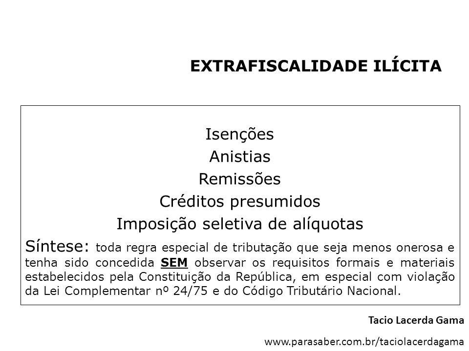 EXTRAFISCALIDADE ILÍCITA Isenções Anistias Remissões Créditos presumidos Imposição seletiva de alíquotas Síntese: toda regra especial de tributação qu