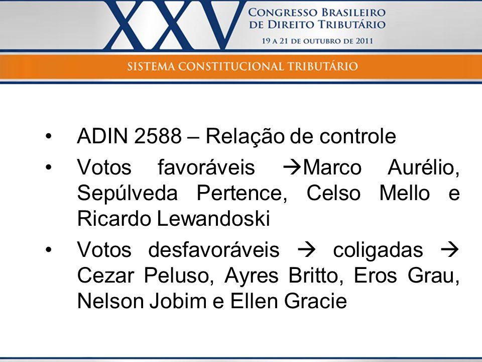 ADIN 2588 – Relação de controle Votos favoráveis Marco Aurélio, Sepúlveda Pertence, Celso Mello e Ricardo Lewandoski Votos desfavoráveis coligadas Cez