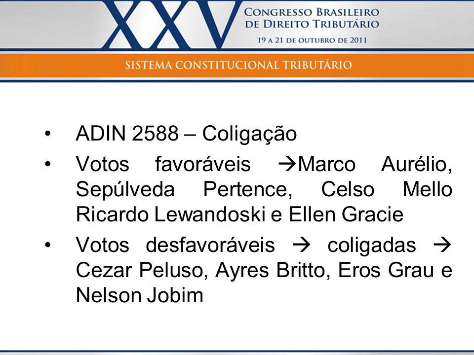 ADIN 2588 – Coligação Votos favoráveis Marco Aurélio, Sepúlveda Pertence, Celso Mello Ricardo Lewandoski e Ellen Gracie Votos desfavoráveis coligadas