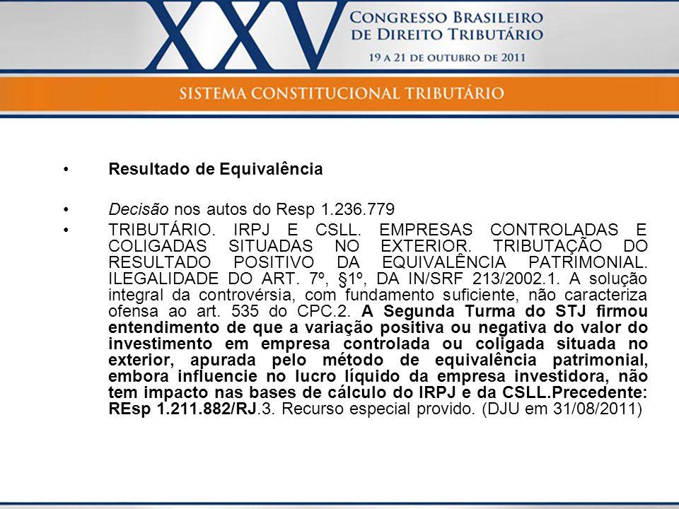 Resultado de Equivalência Decisão nos autos do Resp 1.236.779 TRIBUTÁRIO. IRPJ E CSLL. EMPRESAS CONTROLADAS E COLIGADAS SITUADAS NO EXTERIOR. TRIBUTAÇ