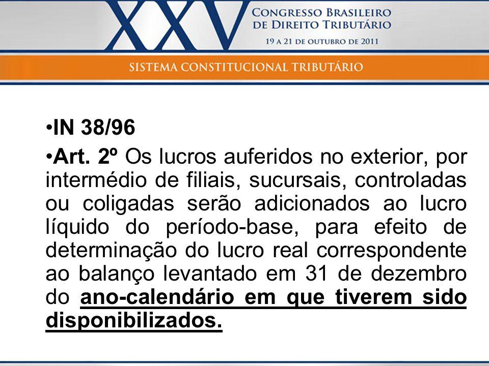 IN 38/96 Art. 2º Os lucros auferidos no exterior, por intermédio de filiais, sucursais, controladas ou coligadas serão adicionados ao lucro líquido do