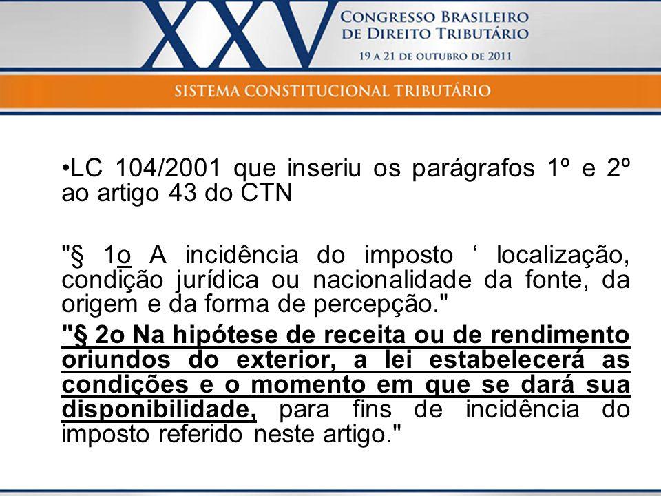 LC 104/2001 que inseriu os parágrafos 1º e 2º ao artigo 43 do CTN