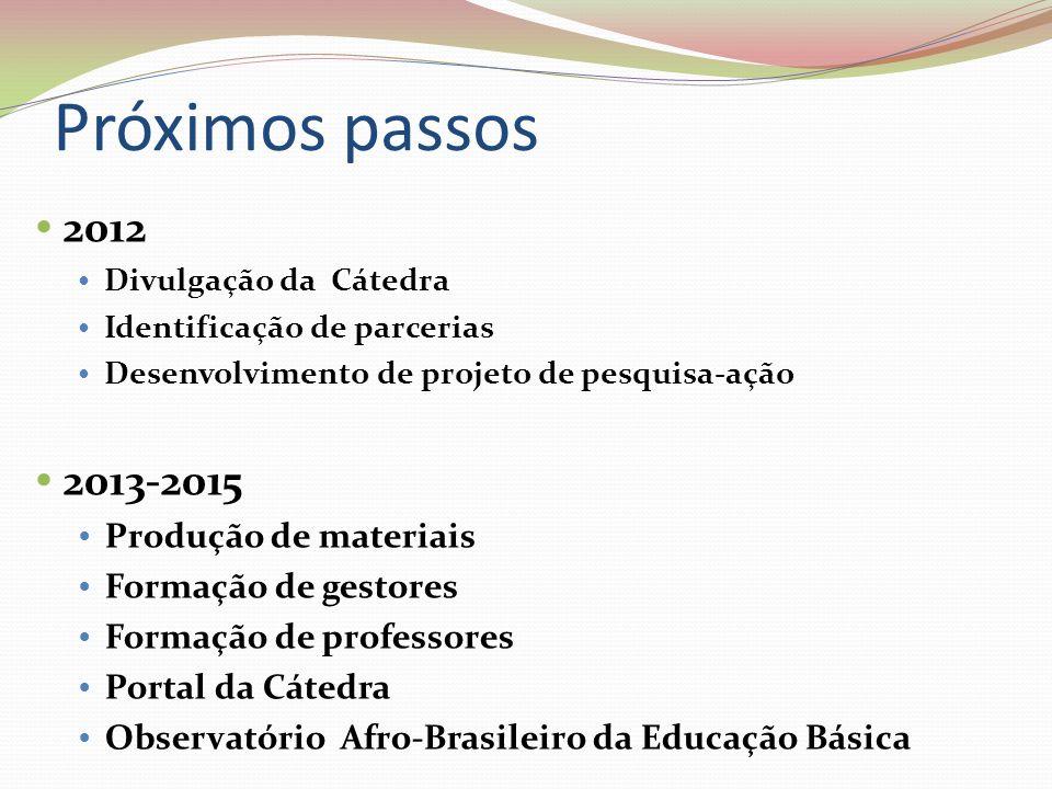 Próximos passos 2012 Divulgação da Cátedra Identificação de parcerias Desenvolvimento de projeto de pesquisa-ação 2013-2015 Produção de materiais Form