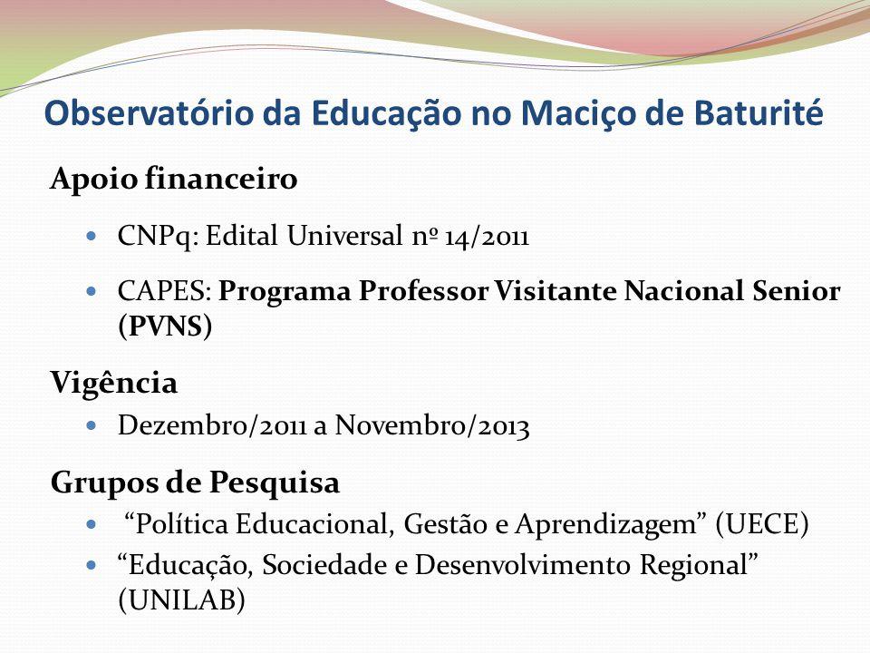 Observatório da Educação no Maciço de Baturité Apoio financeiro CNPq: Edital Universal nº 14/2011 CAPES: Programa Professor Visitante Nacional Senior