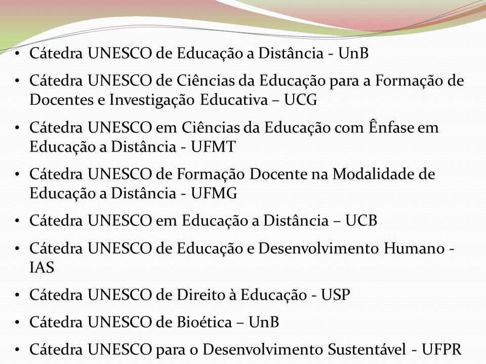 Cátedra UNESCO de Educação a Distância - UnB Cátedra UNESCO de Ciências da Educação para a Formação de Docentes e Investigação Educativa – UCG Cátedra