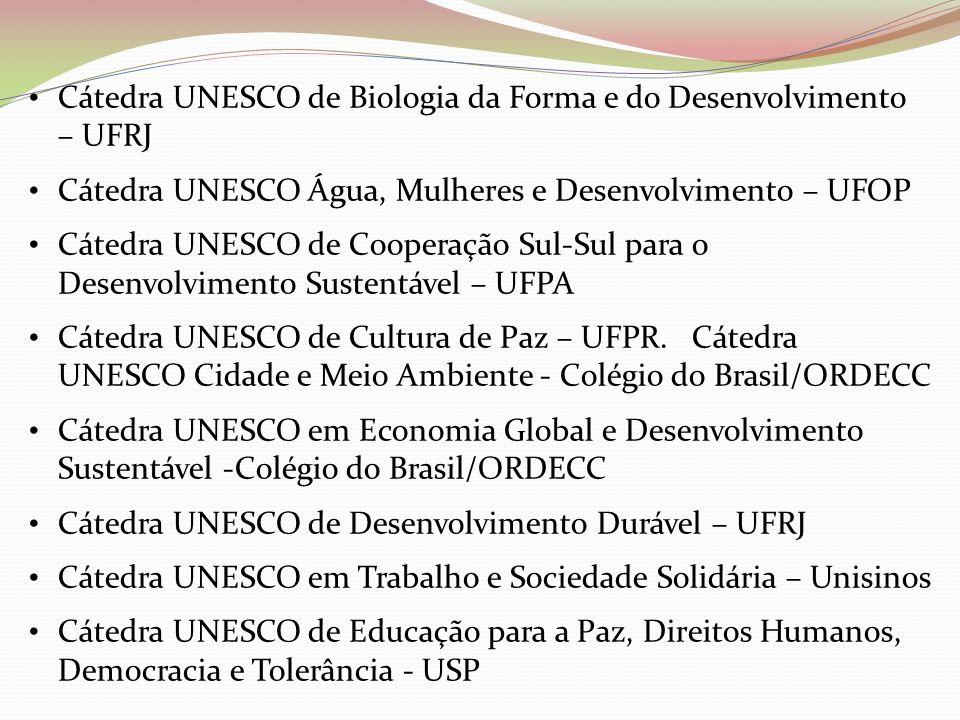 Cátedra UNESCO de Biologia da Forma e do Desenvolvimento – UFRJ Cátedra UNESCO Água, Mulheres e Desenvolvimento – UFOP Cátedra UNESCO de Cooperação Su