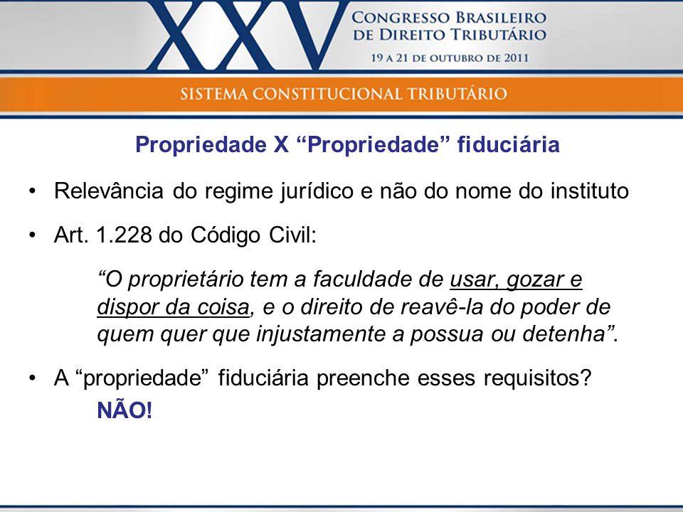 Propriedade X Propriedade fiduciária Relevância do regime jurídico e não do nome do instituto Art. 1.228 do Código Civil: O proprietário tem a faculda
