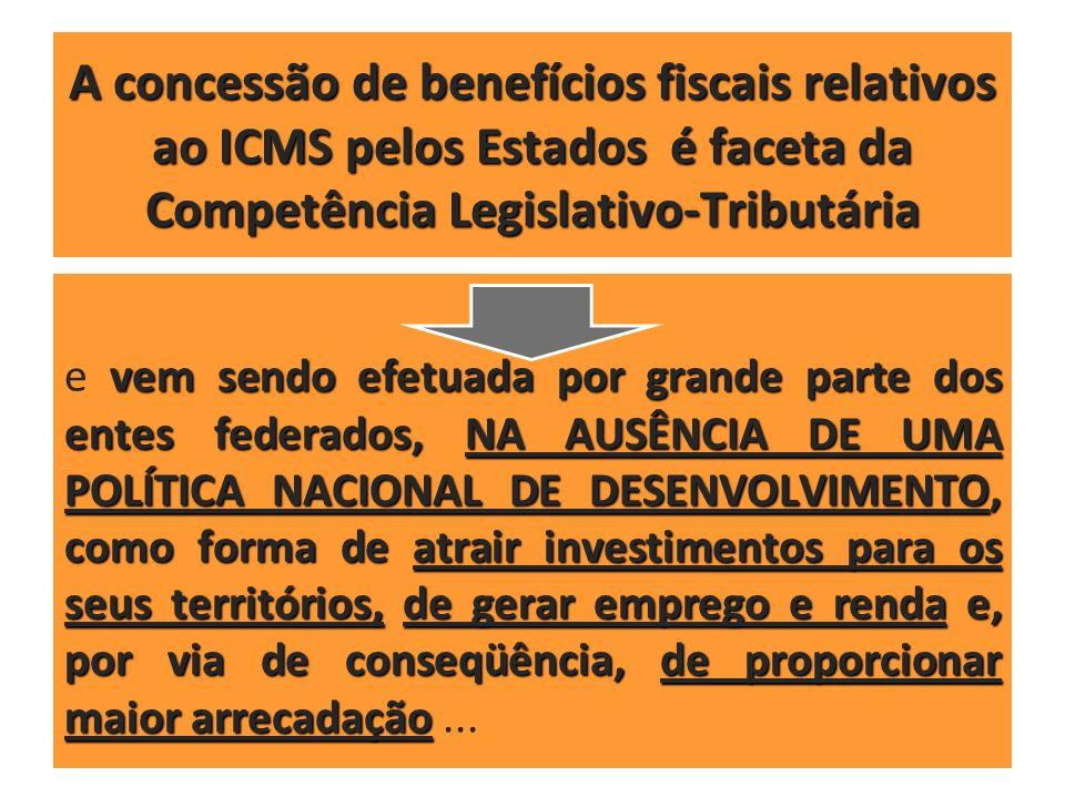 A concessão de benefícios fiscais relativos ao ICMS pelos Estados é faceta da Competência Legislativo-Tributária vem sendo efetuada por grande parte d