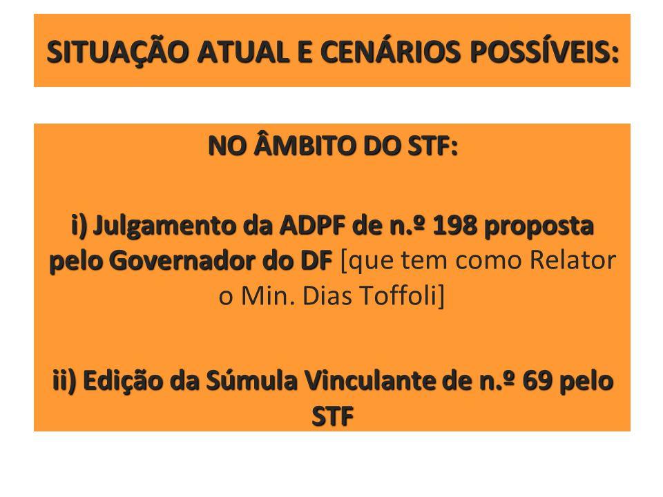 SITUAÇÃO ATUAL E CENÁRIOS POSSÍVEIS: NO ÂMBITO DO STF: i) Julgamento da ADPF de n.º 198 proposta pelo Governador do DF i) Julgamento da ADPF de n.º 19