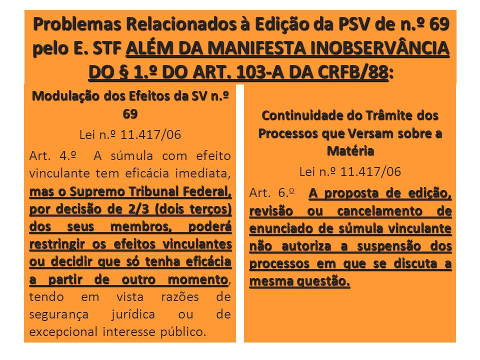 Problemas Relacionados à Edição da PSV de n.º 69 pelo E. STF ALÉM DA MANIFESTA INOBSERVÂNCIA DO § 1.º DO ART. 103-A DA CRFB/88: Modulação dos Efeitos