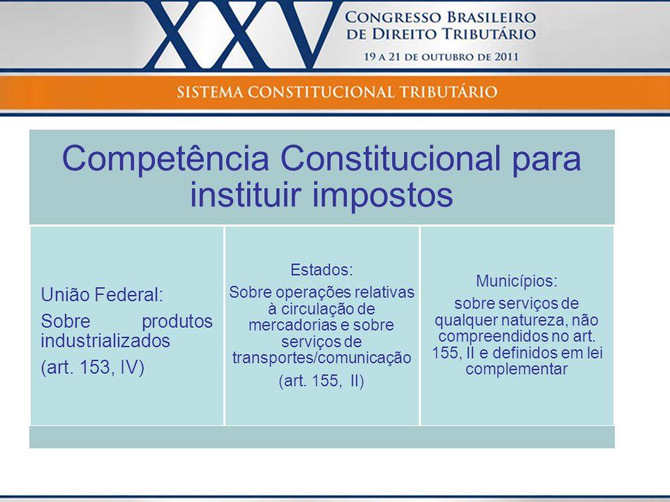 Interpretação da Constituição A Constituição não traz os conceitos de: produtos industrializados, mercadorias e serviços.