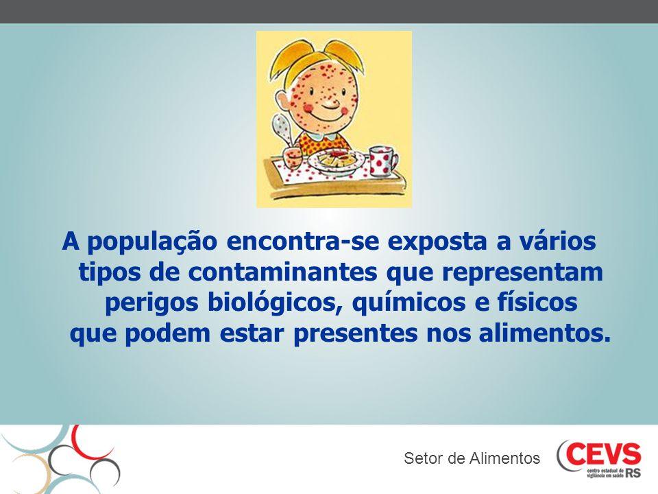 A população encontra-se exposta a vários tipos de contaminantes que representam perigos biológicos, químicos e físicos que podem estar presentes nos a