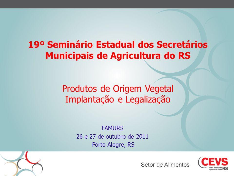 19º Seminário Estadual dos Secretários Municipais de Agricultura do RS Produtos de Origem Vegetal Implantação e Legalização FAMURS 26 e 27 de outubro