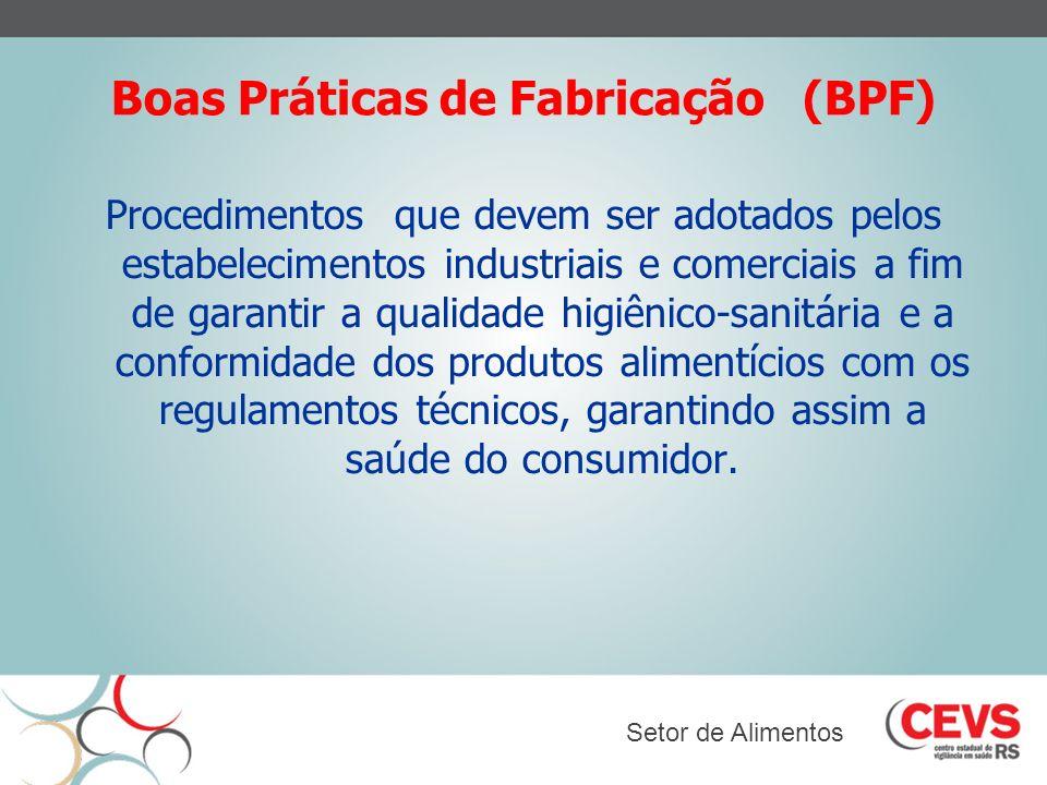 Boas Práticas de Fabricação (BPF) Procedimentos que devem ser adotados pelos estabelecimentos industriais e comerciais a fim de garantir a qualidade h