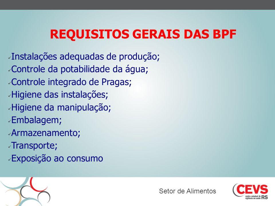 REQUISITOS GERAIS DAS BPF Instalações adequadas de produção; Controle da potabilidade da água; Controle integrado de Pragas; Higiene das instalações;